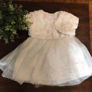 2/$15 George formal glittery white dress